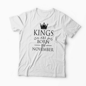 Tricou Kings Queens Are Born in November - Bărbați-Alb