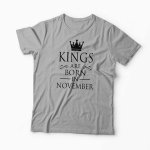 Tricou Kings Queens Are Born in November - Bărbați-Gri