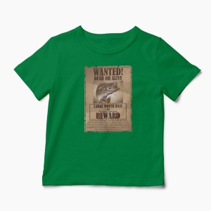 Tricou Pescuit Wanted Dead Or Alive - Copii-Verde