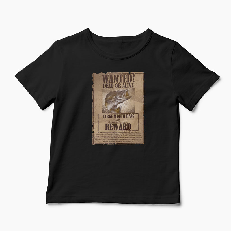 Tricou Pescuit Wanted Dead Or Alive - Copii-Negru