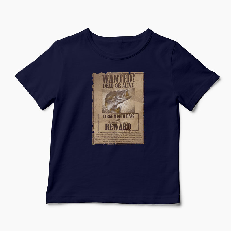 Tricou Pescuit Wanted Dead Or Alive - Copii-Bleumarin